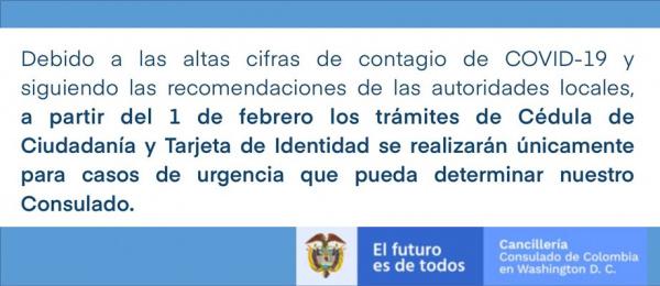 Consulado de Colombia en Washington informa la nueva metodología de citas para los trámites de Cédula de Ciudadanía y Tarjeta de Identidad a partir del 1 de febrero