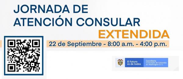 Consulado General de Colombia en Washington realizará jornada de atención consular extendida el miércoles 22 de septiembre de 2021