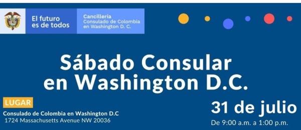 Jornada de Sábado Consular el 31 de julio en la sede del Consulado de Colombia