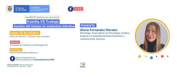 El Consulado de Colombia en Washington invita a la charla virtual Familia Vs Trabajo - Gestión del tiempo en ambientes híbridos, el lunes 25 de octubre de 2021