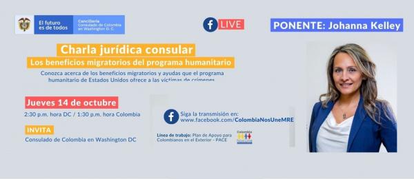 Consulado de Colombia en Washington invita a la charla jurídica consular Los beneficios migratorios del programa humanitario, 14 de octubre de 2021