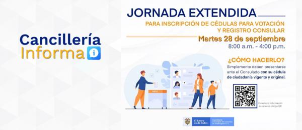 Consulado de Colombia en Washington invita a jornada extendida para inscripción de cédulas para elecciones y registro consular, el 28 de septiembre de 2021